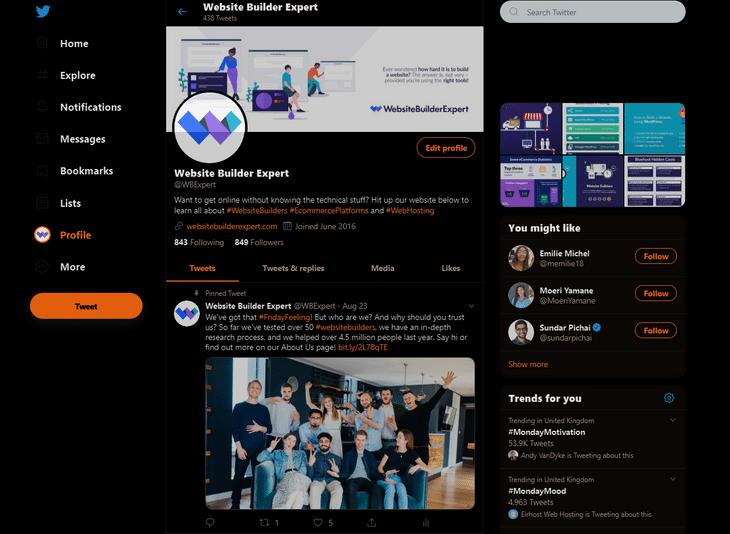 dark mode web design twitter
