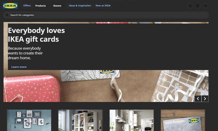 web design dark mode ikea