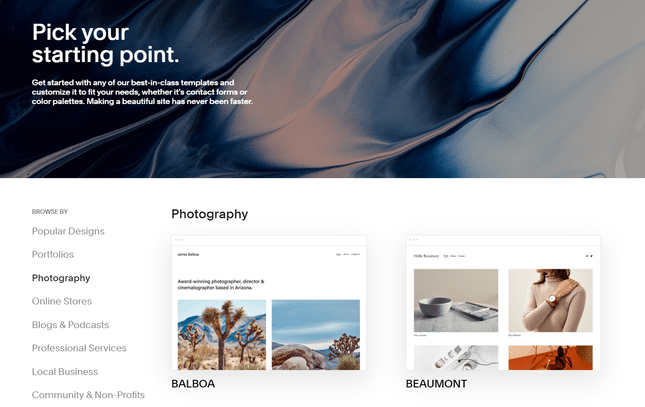 photography template page