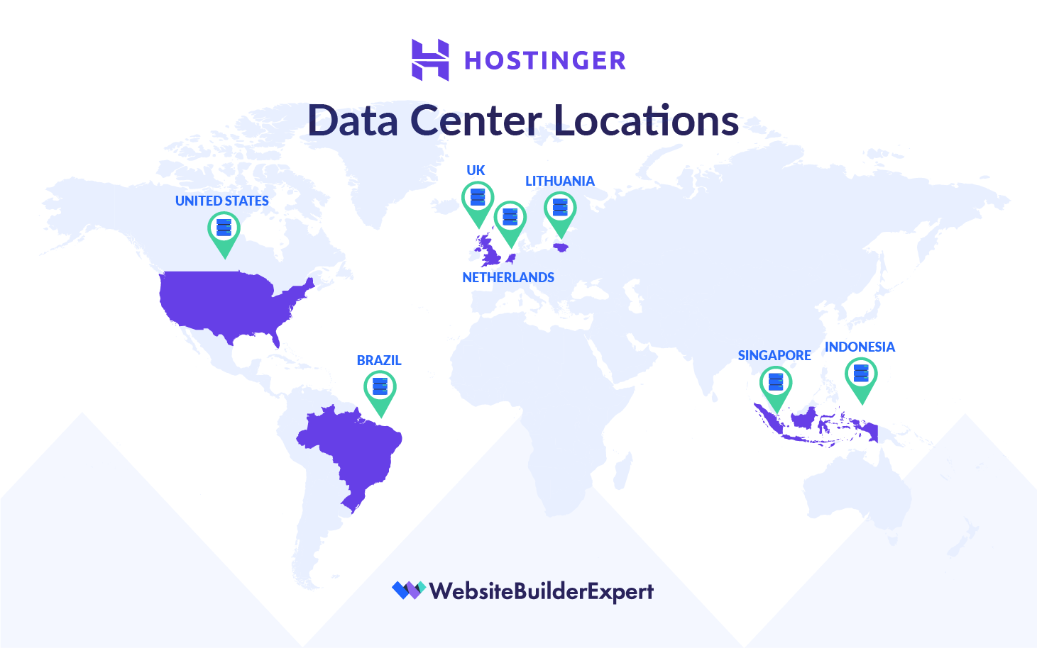 hostinger data center locations map graphic
