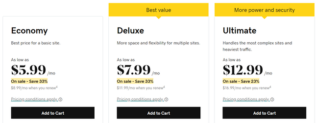 godaddy windows pricing plans