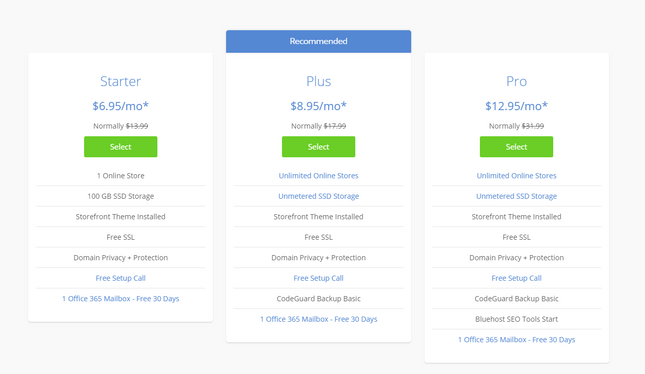 best woocommerce hosting bluehost pricing