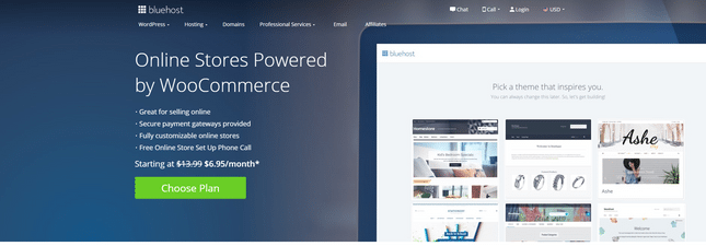 best wordpress specific woocommerce hosting bluehost