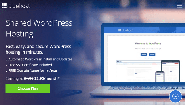bluehost wordpress plans page