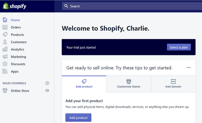 shopify editor screen
