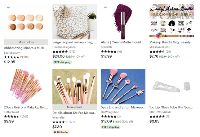 etsy makeup results page