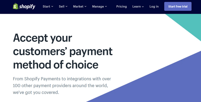 shopify payments homepage
