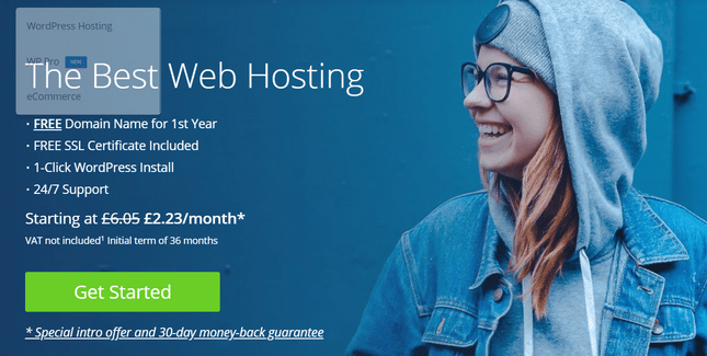 bluehost homepage view