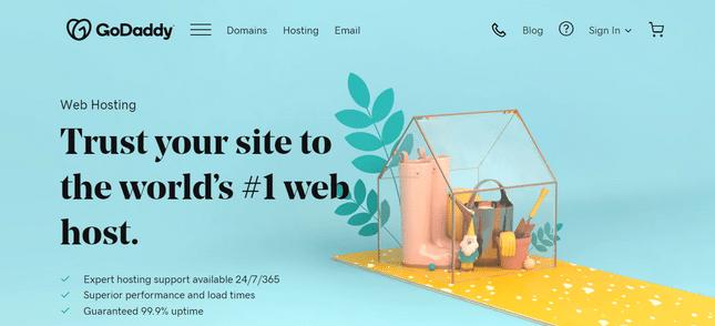 godaddy hosting homepage view