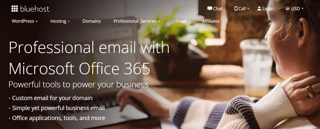 bluehost email homepage