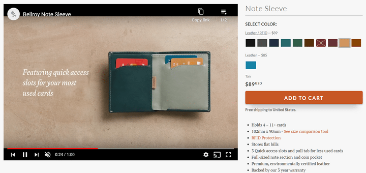 best product pages bellroy
