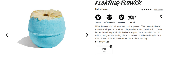 how to design a product page lush product description