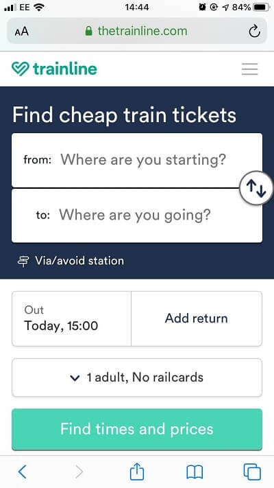 Trainline mobile friendly example