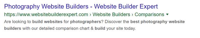 building online portfolio seo metadata example