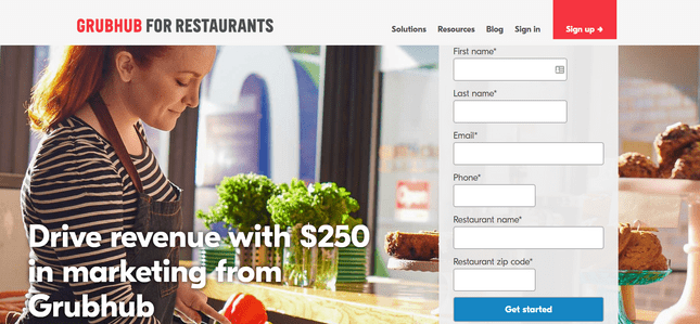 third app online food ordering grubhub restaurant form
