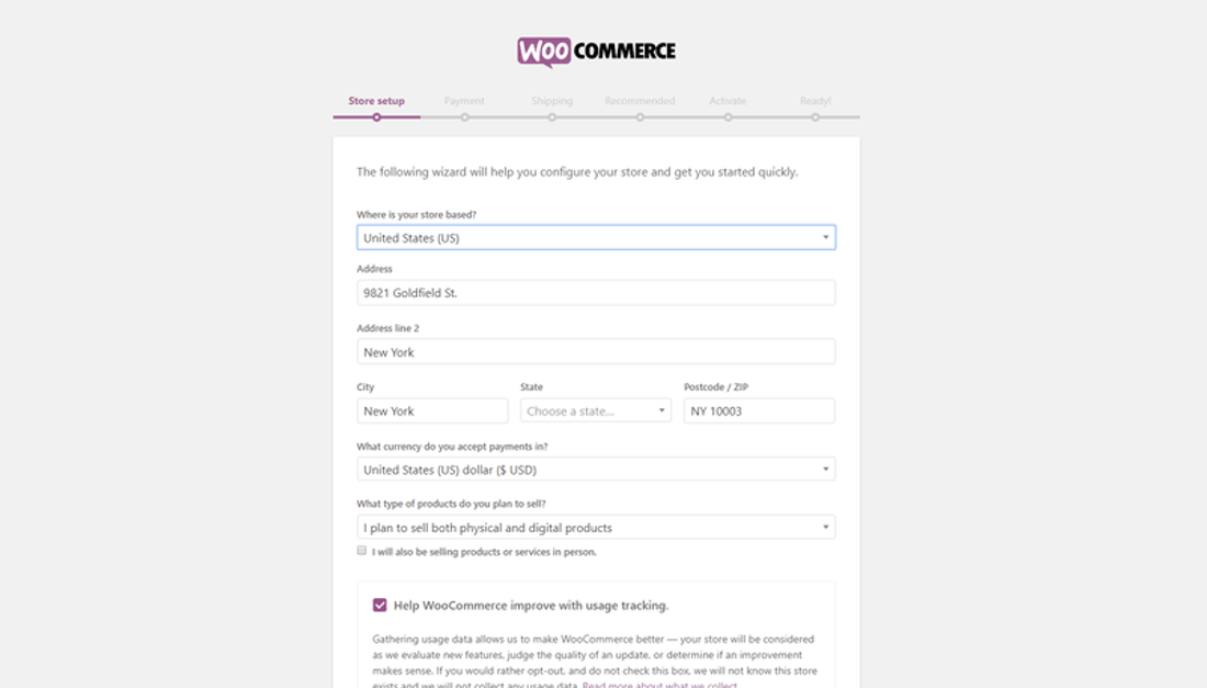 how to build online store woocommerce setup business details