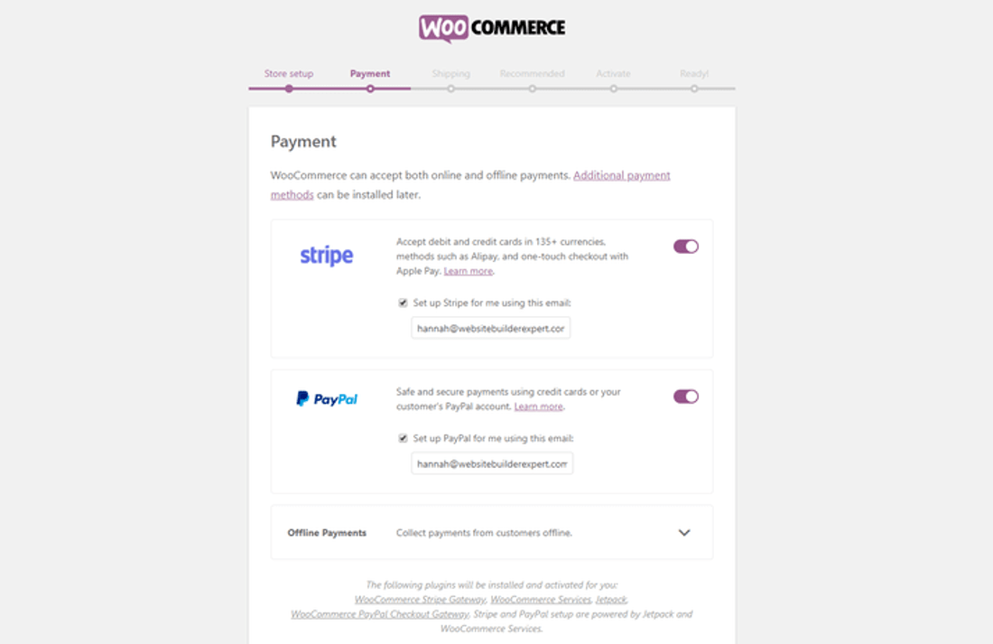 woocommerce setup payment building online store