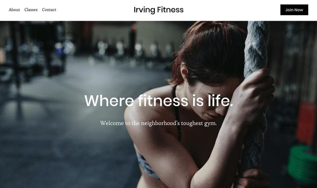 squarespace fitness home