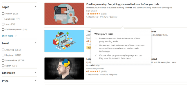 udemy coding courses search results