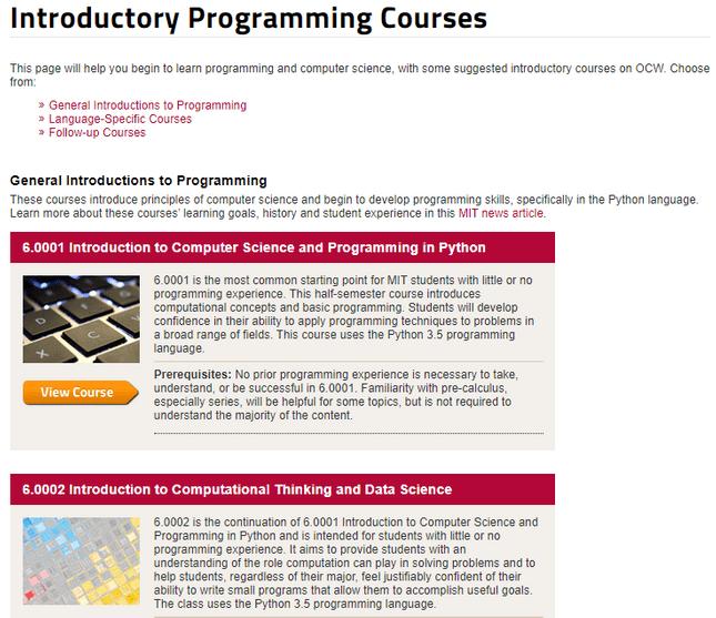 mit opencourseware programming courses