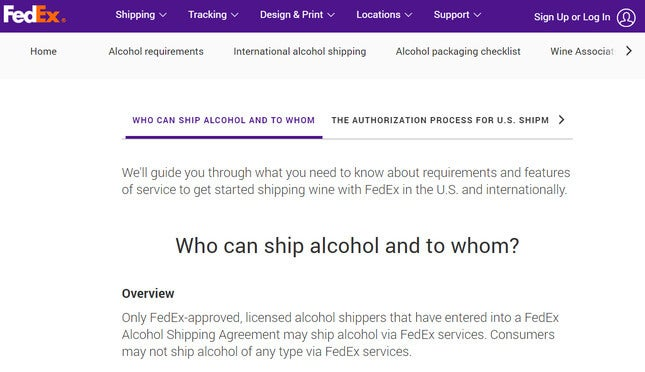 how to sell alcohol online fedex