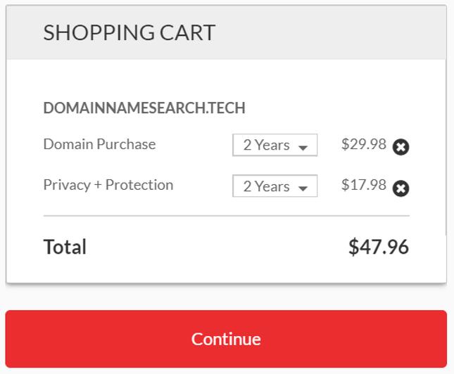 domain name checkout page