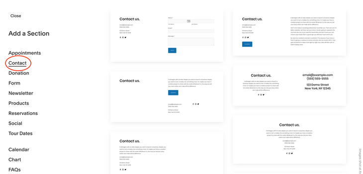 squarespace page layouts