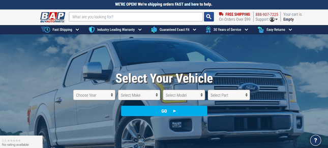 auto parts online store example