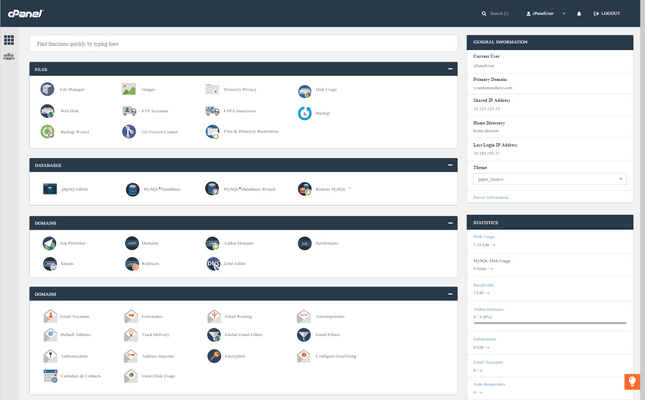 cpanel dashboard view
