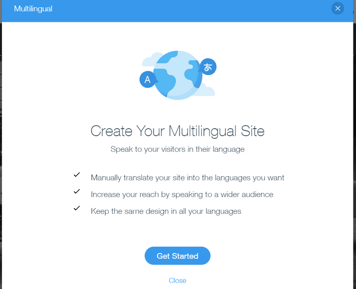 wix multilingual get started