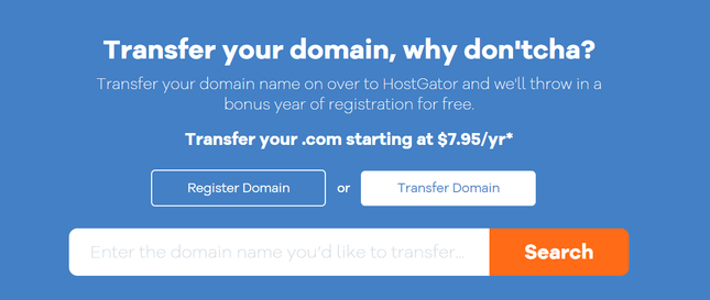 domain transfer homepage