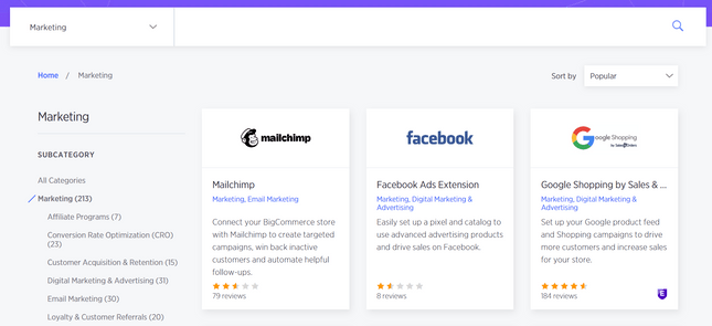 woocommerce vs bigcommerce marketing apps
