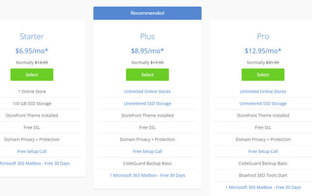 bluehost woocommerce pricing