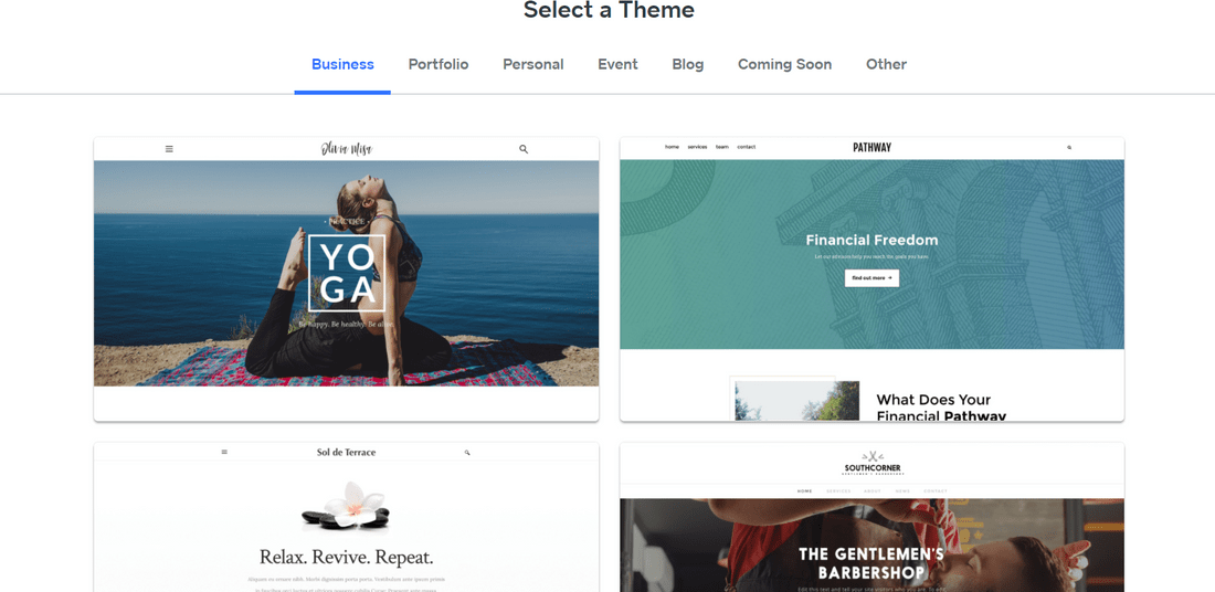 weebly free website builder template selection