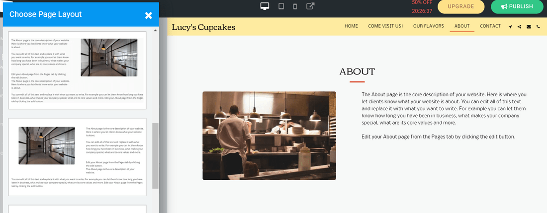 site123 free website builder page layouts