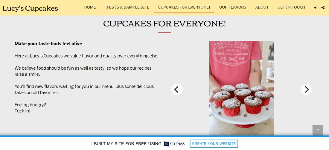 site123 lucys cupcakes bland design