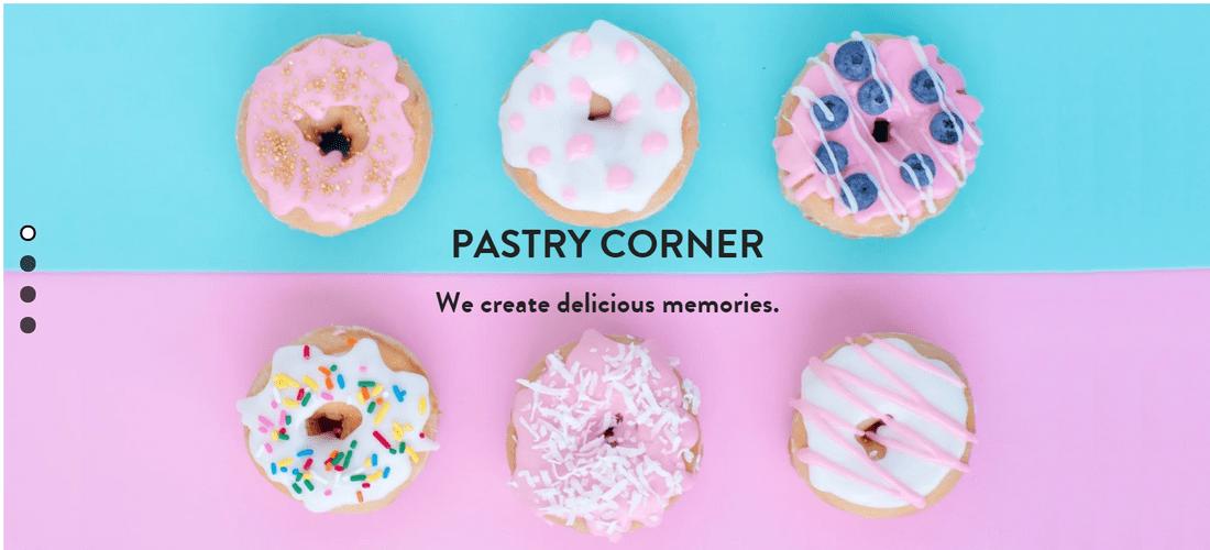 strikingly free website builder pastry corner template