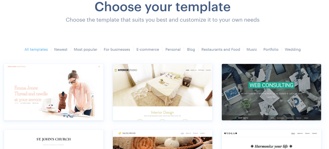 webnode free builder templates