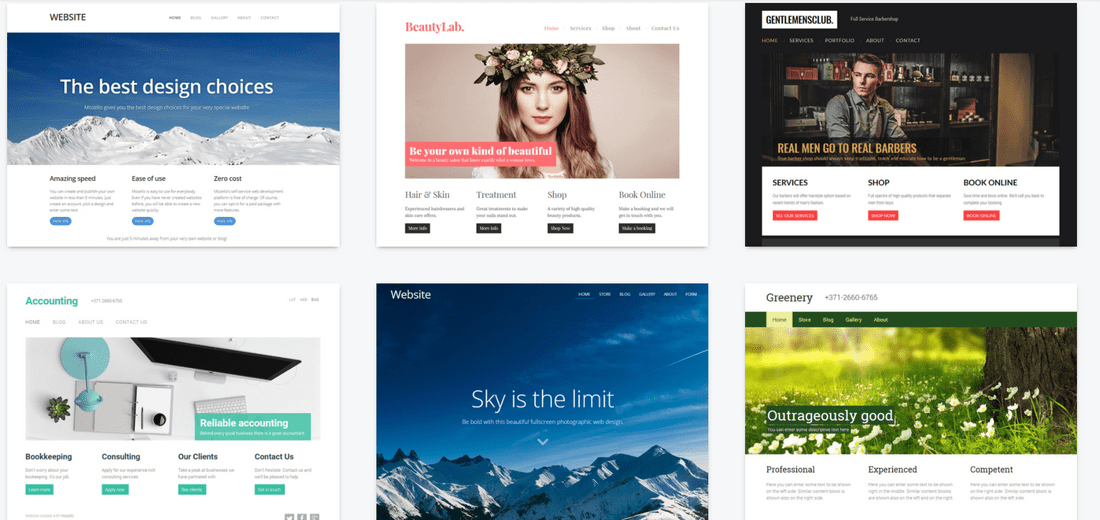 mozello free website builder template selection