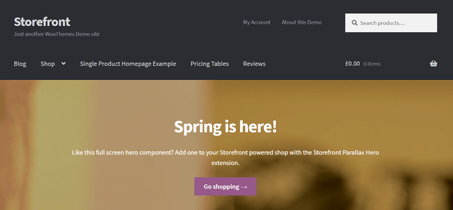 woocommerce storefront theme demo
