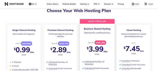 hostinger price plans best small business hosts