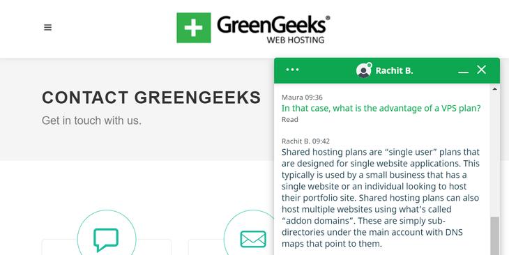 greengeeks live chat test