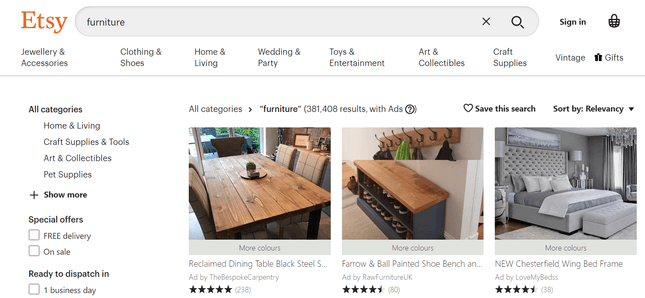 etsy furniture stores