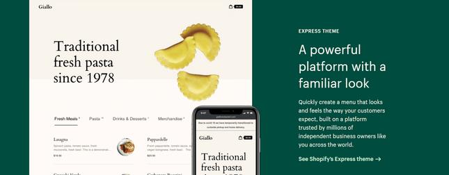 shopify restaurant express theme