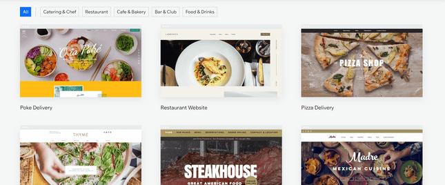 Wix restaurant and food templates