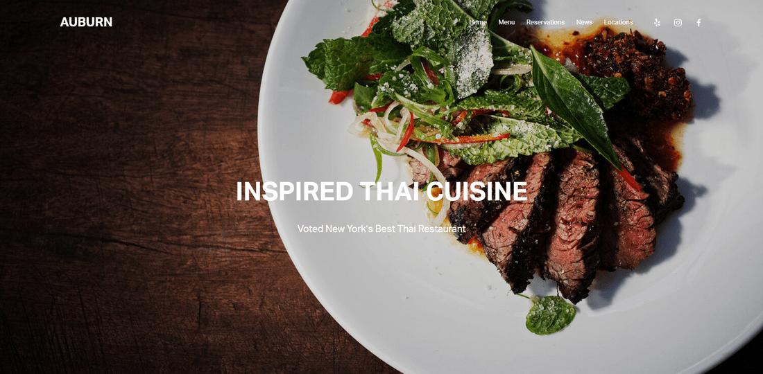 best squarespace template restaurant auburn
