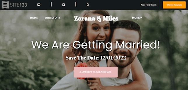 site123 wedding template designs