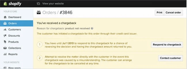 shopify payments chargeback handling