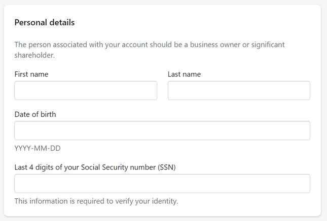 entering personal details