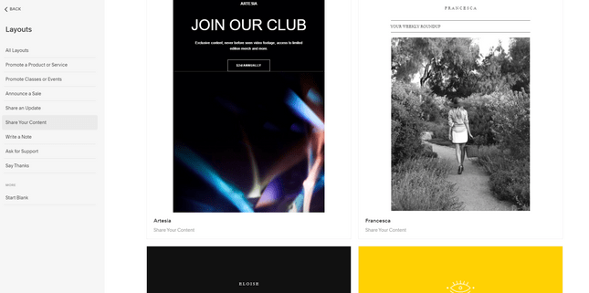 squarespace email layout options portfolio builders